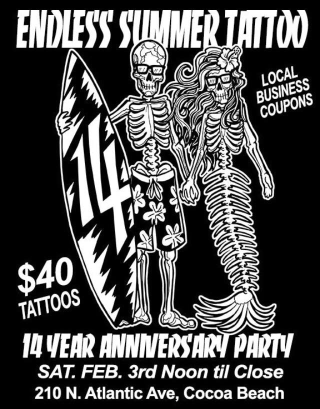 Endless summer tattoo 14 year anniversary party cocoa for Endless summer tattoo